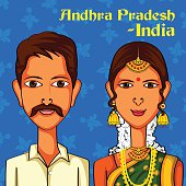 Andhrait Couple in traditional costume of Andhra Pradesh, India