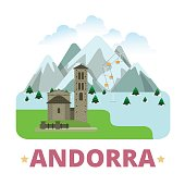 Andorra country badge fridge magnet design template. Vallnord Sant Joan de Caselles. Flat cartoon style sight web site vector illustration. World vacation travel sightseeing Europe European collection