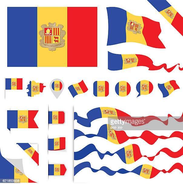andorra flag set - politics and government stock illustrations, clip art, cartoons, & icons