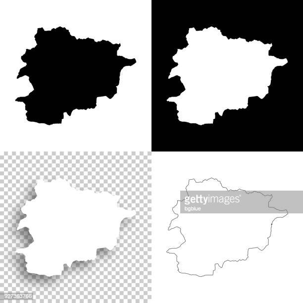 andorra maps for design - blank, white and black backgrounds - andorra stock illustrations