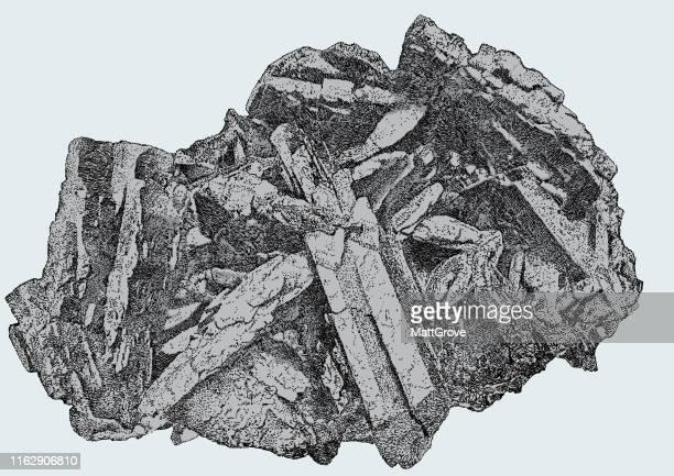 andradite black mineral rock - basalt stock illustrations, clip art, cartoons, & icons