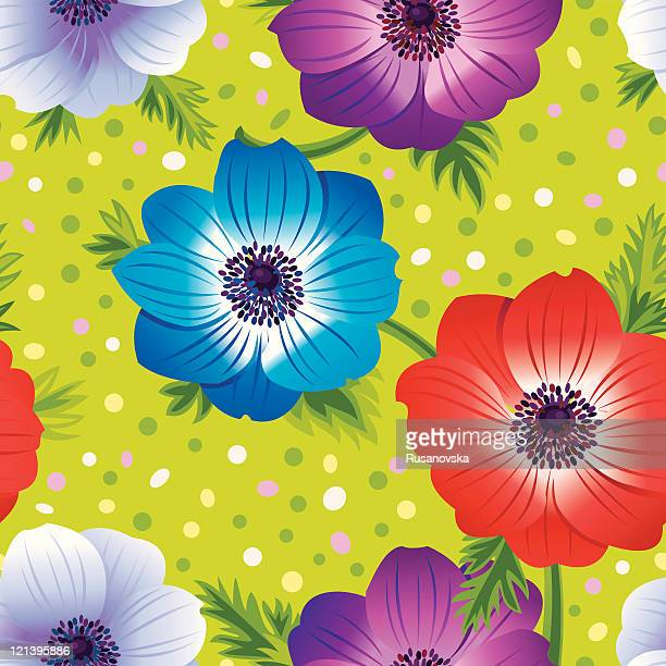 anemone floral pattern - ranunculus stock illustrations, clip art, cartoons, & icons