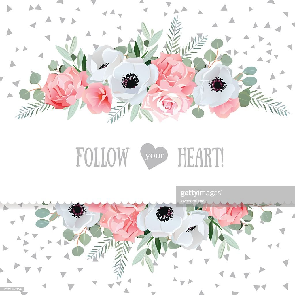 Anemone, rose, pink flowers and eucaliptus vector mirrored design card