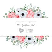 Anemone, rose, pink flowers vector mirrored design card.