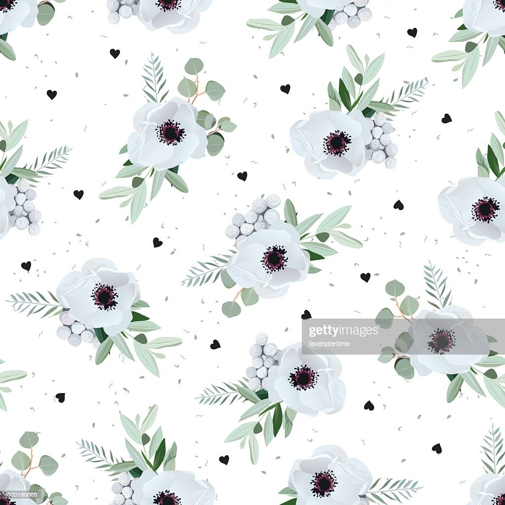 Anemones, brunia flowers and eucaliptis leaves seamless vector pattern