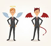 Angel and devil businessman office workers characters. Good and bad
