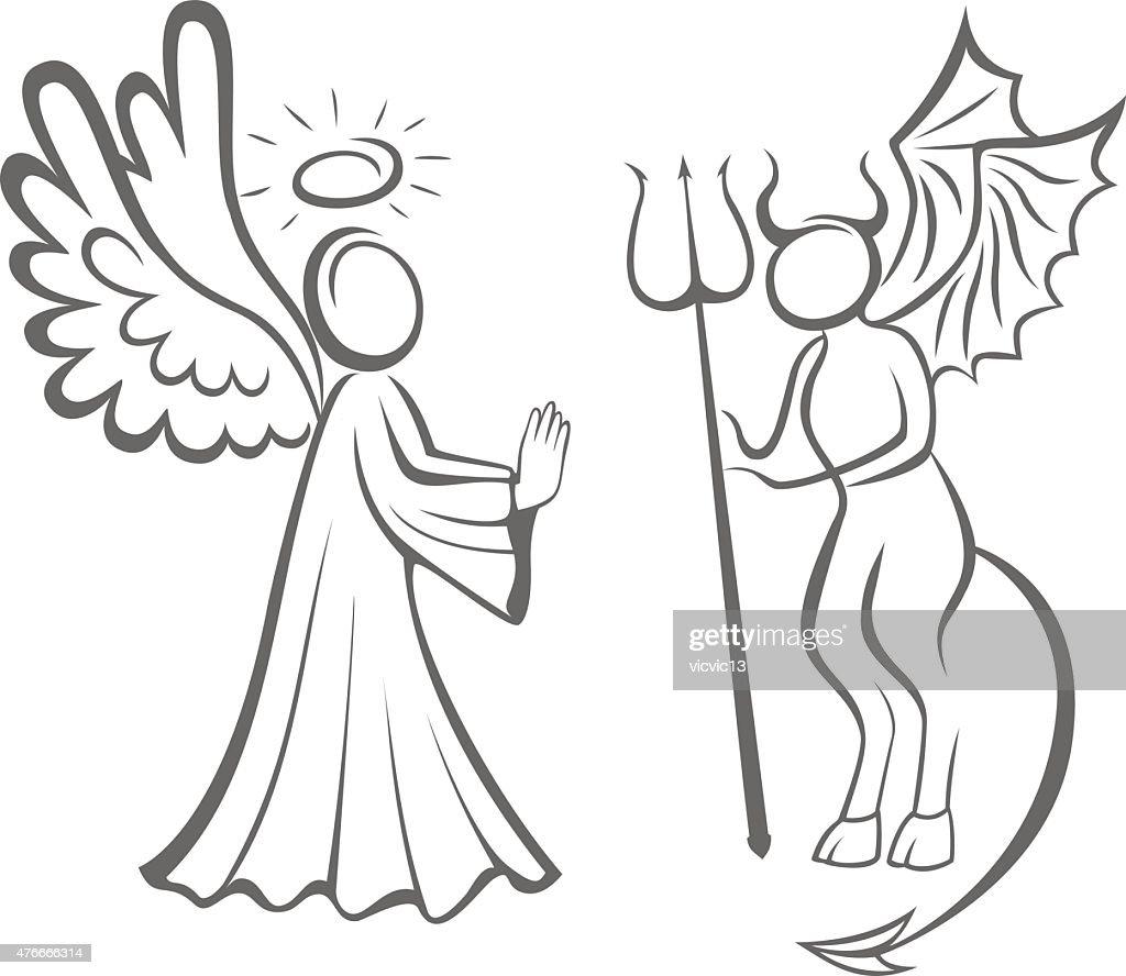 Angel and Devil. Good against evil. decision taking