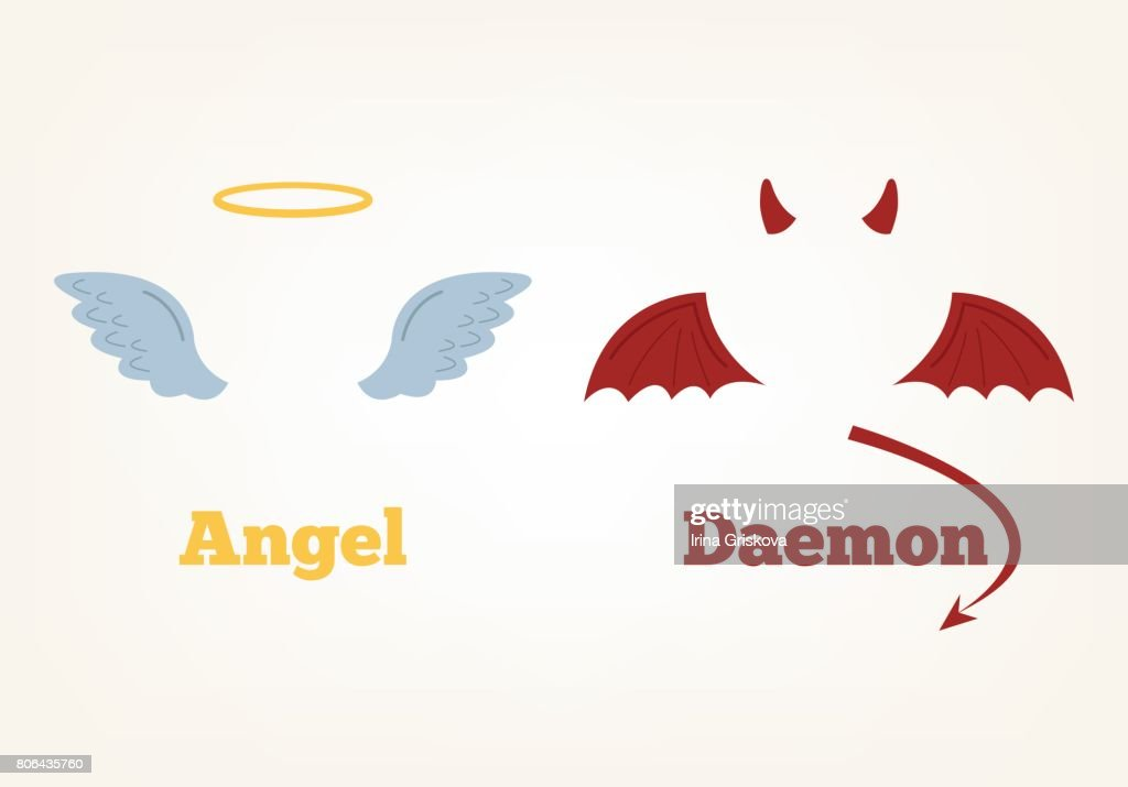 Angel and devil suit elements. Good and bad