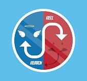 Angel and devil symbol. Vector flat cartoon illustration