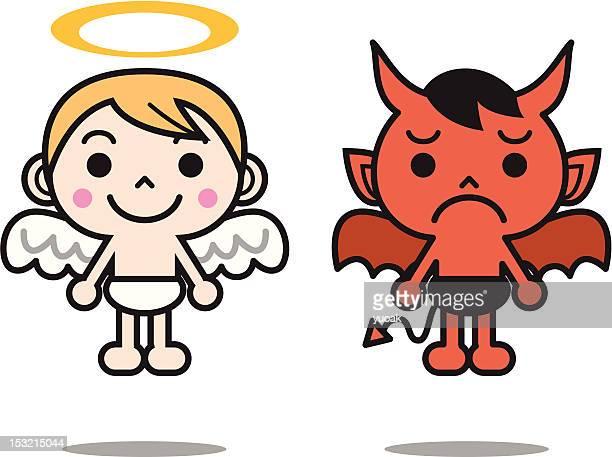 ilustrações de stock, clip art, desenhos animados e ícones de anjo e devil - angel hot