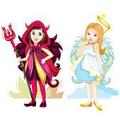 Angel and imp girls cartoon character