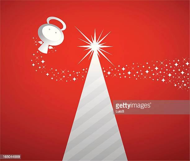 angel and xmas tree - signal flare stock illustrations, clip art, cartoons, & icons