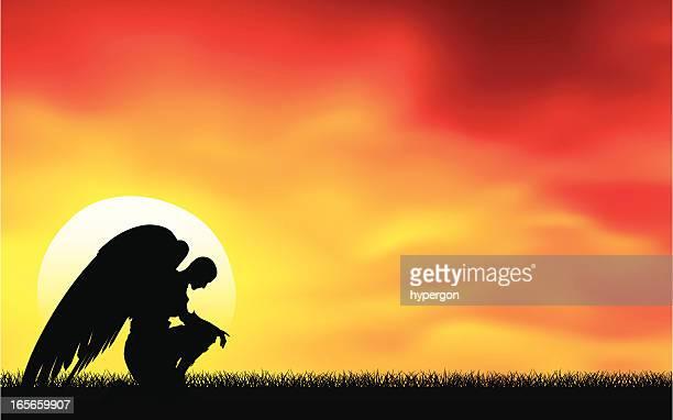 ilustrações de stock, clip art, desenhos animados e ícones de angel ao pôr do sol - angel hot