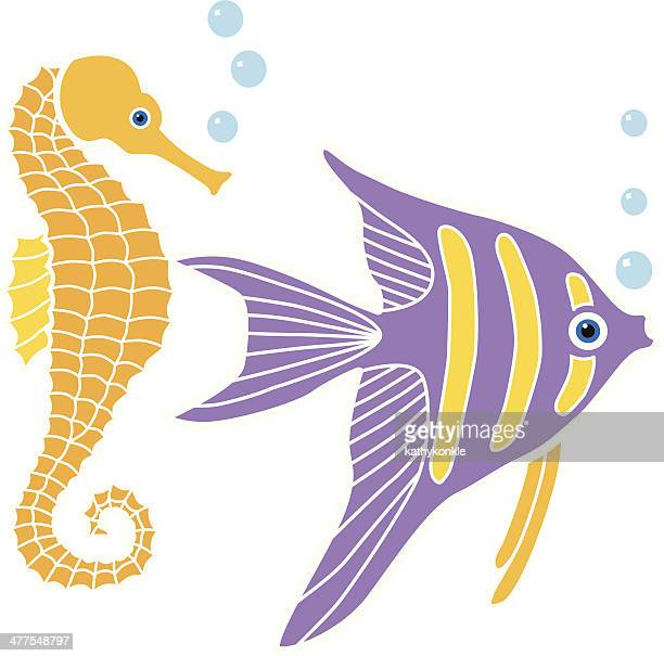 angel fish and seahorse in color - angelfish stock illustrations, clip art, cartoons, & icons