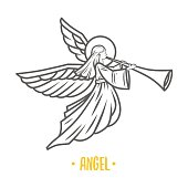 Angel god. Vector illustration.