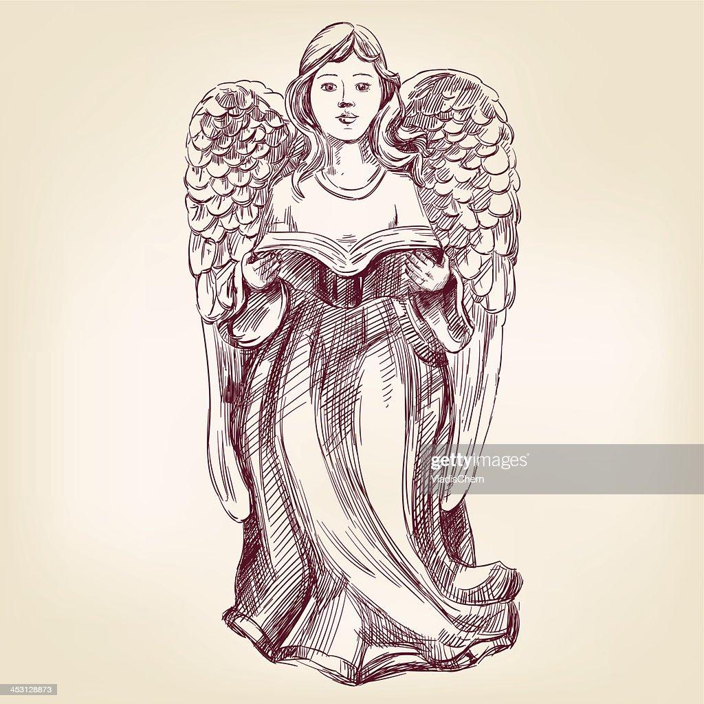 angel hand drawn vector llustration realistic sketch
