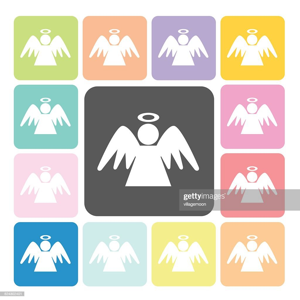 Angel Icon color set vector illustration