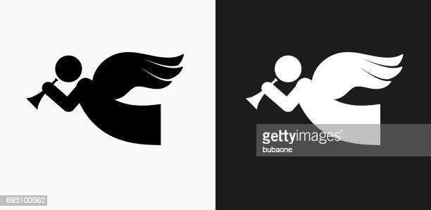 Angel Icon on Black and White Vector Backgrounds