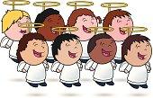 Angel Kid's Choir - vector illustration