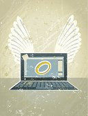 Angel Laptop Computer with Wings and a Halo