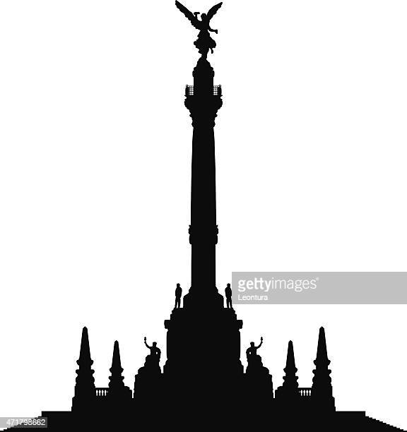 angel of independence, mexico city - independence monument mexico city stock illustrations