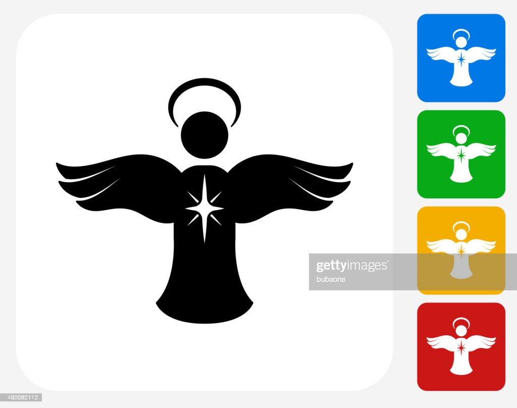 Angel Ornament Icon Flat Graphic Design