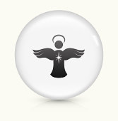 Angel Ornament icon on white round vector button