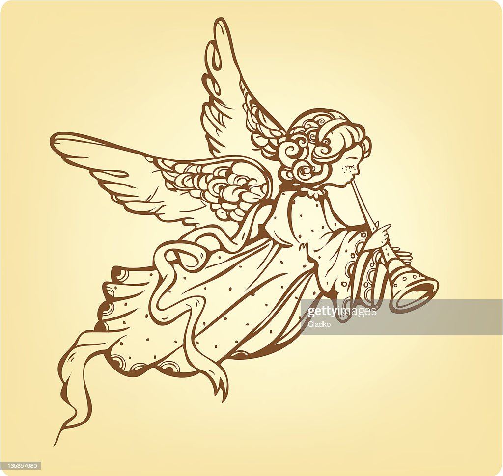 Angel playing a trumpet