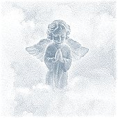 Angel Praying and Clouds