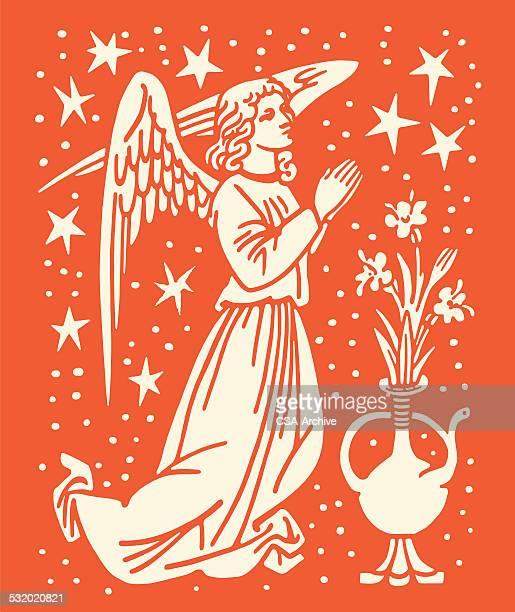angel praying - angel stock illustrations
