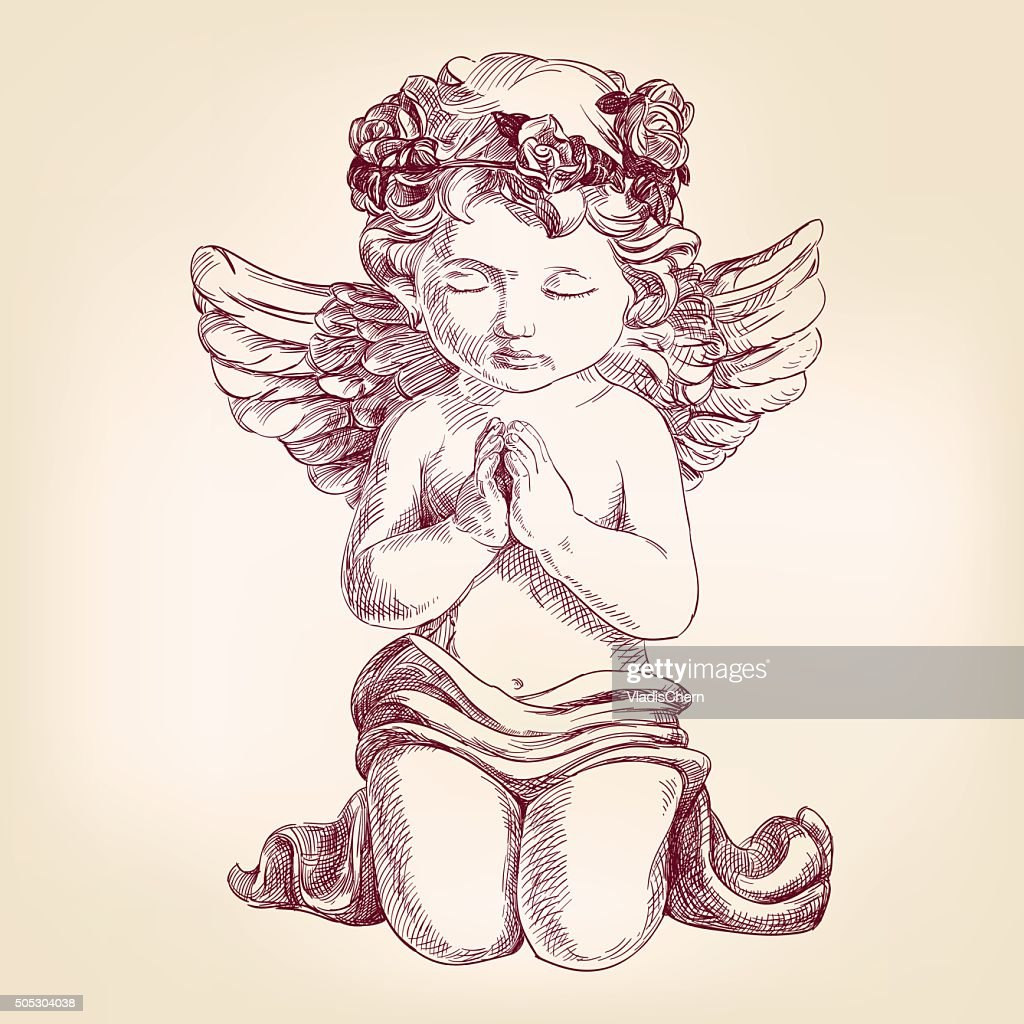 angel prays on his knees hand drawn vector llustration  realistic