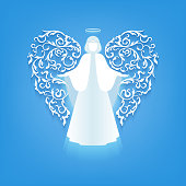 angel silhouette with ornaments wings