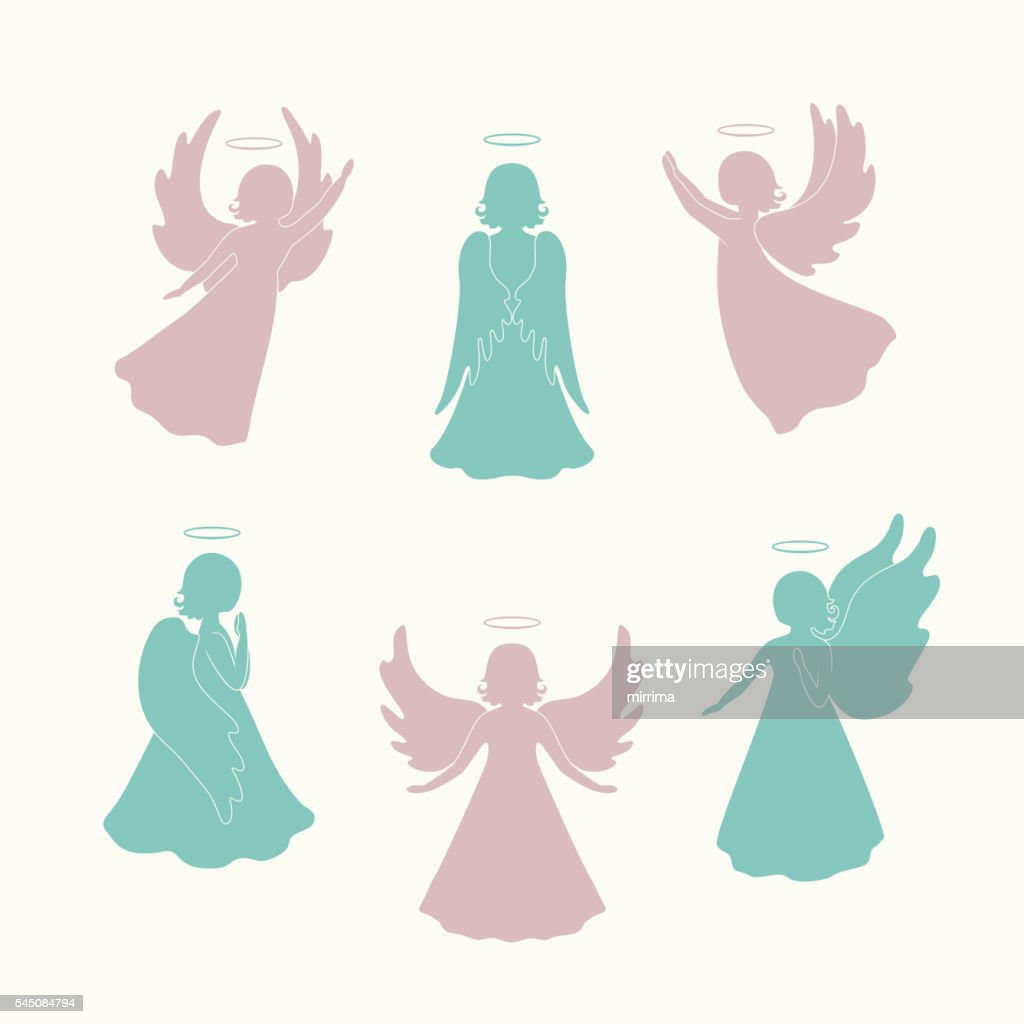 Angel silhouettes isolated on light