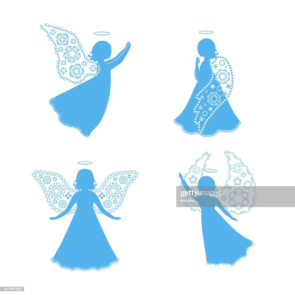 Angel silhouettes isolated on white