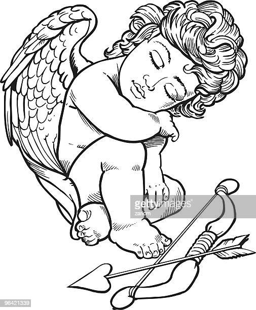 angel - eyes closed stock illustrations, clip art, cartoons, & icons
