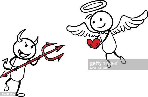 angel vs devil - angel stock illustrations