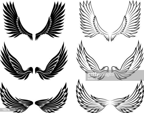 ilustraciones, imágenes clip art, dibujos animados e iconos de stock de ángel alas blanco y negro sin royalties de conjunto de iconos vectoriales - alas de angel
