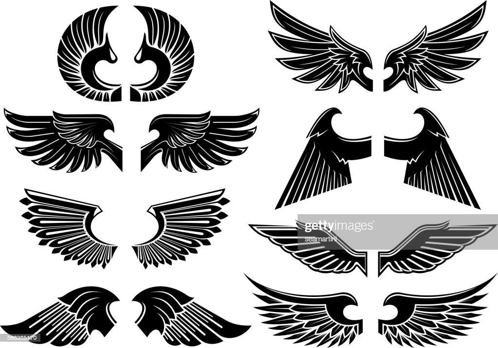Angel wings black heraldic symbols