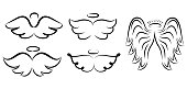 Angel wings drawing vector illustration.