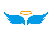 Angel wings icon with nimbus - vector for stock