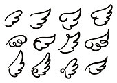Angel wings sketch set. Hand drawn collection of wings isolated on white background.