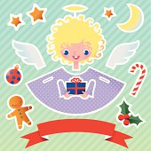 Angel with Christmas Attributes.