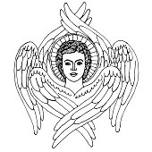 angel with six wings and a glory above his head