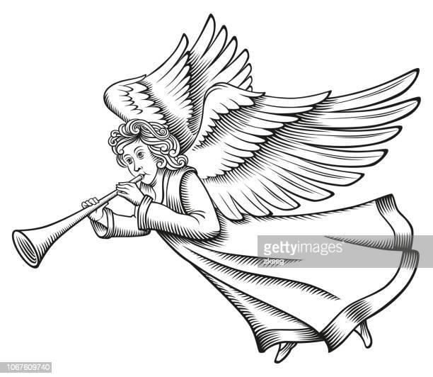 angel woodcut - angel stock illustrations