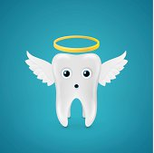Angelic tooth with wings and a halo