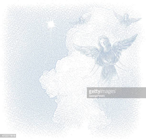 angels and cloudscape background - heaven stock illustrations