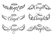 Angels wings emblems. Feather angel wing and halo, sketch feathers bird line tattoo. Hand drawn winged silhouettes vector isolated