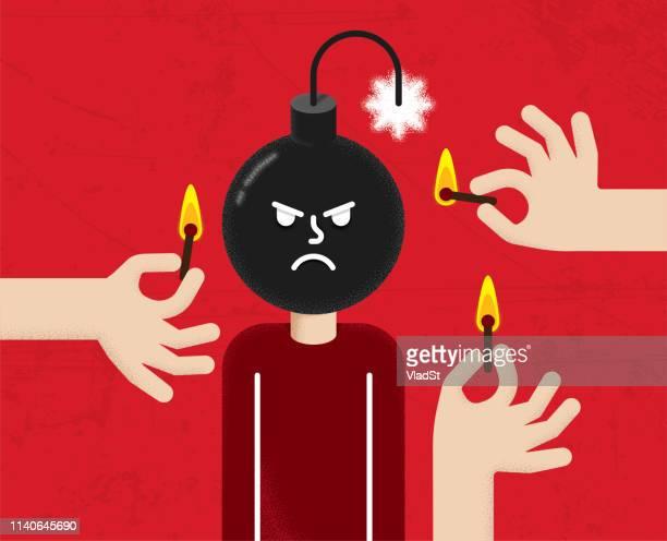 illustrations, cliparts, dessins animés et icônes de gestion de la colère humeur grincheux émotions personnalité illustration conceptuelle - impatient