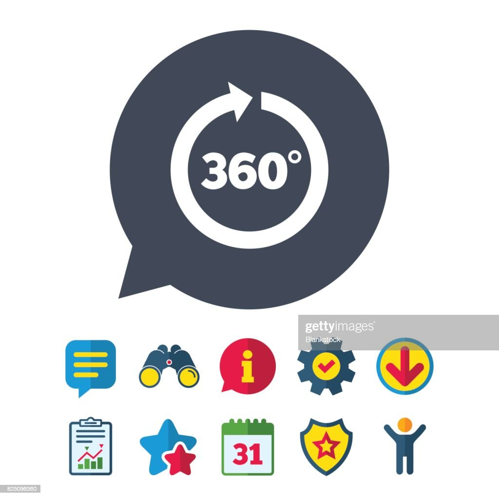 Angle 360 Degrees Sign Icon Geometry Math Symbol Vector Art Getty