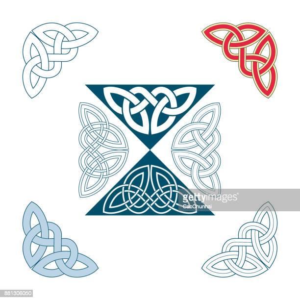 中世のスタイル (ケルト族の結び目) の角飾り - ケルト風点のイラスト素材/クリップアート素材/マンガ素材/アイコン素材